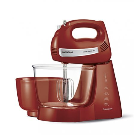 Mondial Bella Massa Inox Red PremiumB-29  is an elegant red stand mixer with 2 bowls