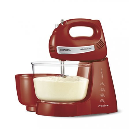 Mondial Bella Massa Inox Red PremiumB-29  is an elegant red stand mixer with stainless steel beaters