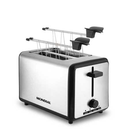 Mondial Smart Day 2 Slice Toaster T-09 is a modern toaster with 2 grippers for hot sandwiches